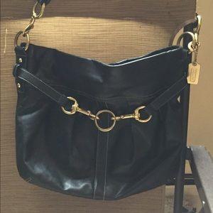 Coach black hamptons handbag purse